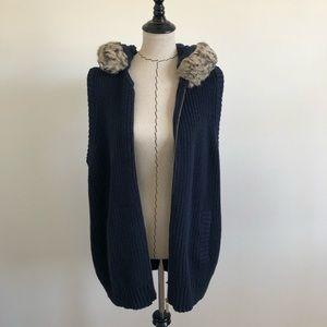 Michale Michael Kors blue hooded fur vest